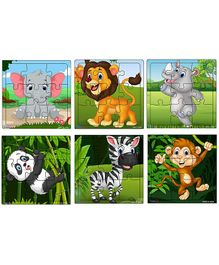 Fiddlys Wooden Jigsaw Puzzles Pack of 6 - 9 Pieces Each