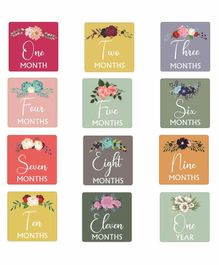 SYGA Baby Monthly Growth Milestone Cards Floral Print Pack of 12 - Multicolour