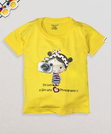 Ardan Lucy Half Sleeves Who Loves Photography Tee - Yellow