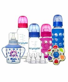 Naughty Kidz Premium Feeding Combo Gift Set of 6 - Pink Blue