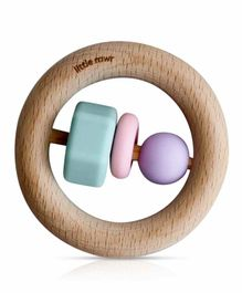 Little Rawr Wooden & Silicone Teething Ring - Multicolor