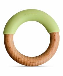 Little Rawr Wooden & Silicone Teething Ring - Green
