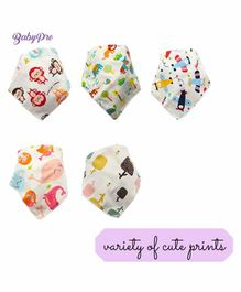 BabyPro Cotton Bandana Style Printed Bibs Pack of 5 - Multicolor