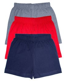 Kiddopanti Pack Of 3 Cycling Shorts - Red Dark Blue Grey