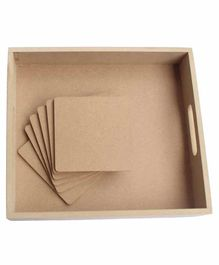 IVEI DIY MDF Wood 1 Tray & 6 Coasters - Brown