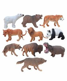 FunBlast Wild Animals Toy Pack of 10 - Multicolor