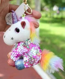 FunBlast Sequin Unicorn Plush Keychain - White