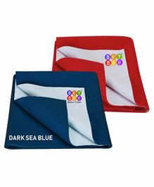 BeyBee Waterproof Small Bed Protector Sheet Pack of 2 - Blue Red