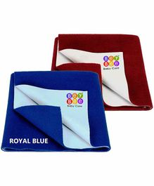 BeyBee Waterproof Small Bed Protector Sheet Pack of 2 - Blue Maroon