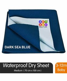BeyBee Quick Dry Waterproof Medium Size  Bed Protector Sheet - Dark Blue