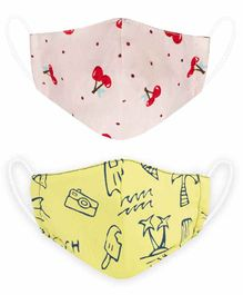 VEA Kids Reusable and Washable Cotton Face Mask Anchor & Animal Print  Red Blue - Pack of 2