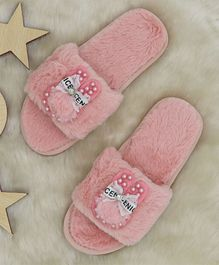FEETWELL SHOES Beads & Bow Applique Flip Flops - Pink