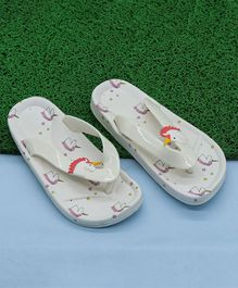 FEETWELL SHOES Unicorn Design Flip Flops - White