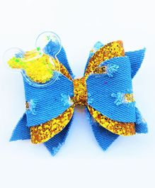 FOLLOW THE NEEDLE Denim & Golden Bow Hair Clip  - Blue & Golden