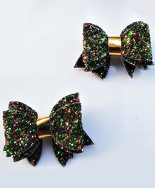 FOLLOW THE NEEDLE Set Of 2 Sequined Hair Clip - Green