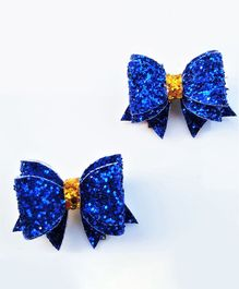 FOLLOW THE NEEDLE Set Of 2 Glitter Bow Clips  - Blue