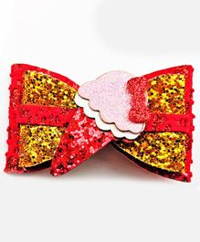 FOLLOW THE NEEDLE Set Of 2 Ice Cream Design Bow Hair Clip  - Red