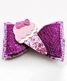 FOLLOW THE NEEDLE Ice Cream Design Bow Hair Clip - Purple