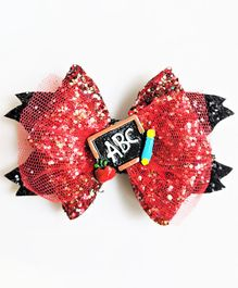 FOLLOW THE NEEDLE Net ABC Patch Bow Hair Clip - Red