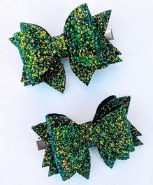FOLLOW THE NEEDLE Glitter Bow  Hair Clip - Green