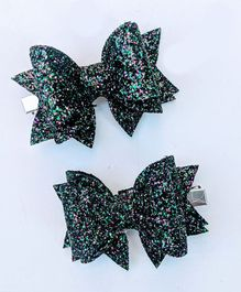 FOLLOW THE NEEDLE Glitter Bow  Hair Clip - Blue
