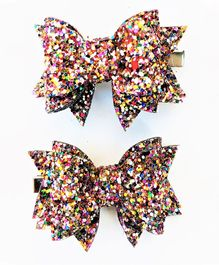 FOLLOW THE NEEDLE Glitter Bow  Hair Clip - Multicolor