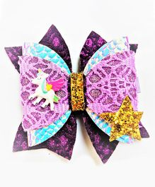FOLLOW THE NEEDLE Unicorn Glitter Hair Clip  - Purple