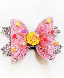 FOLLOW THE NEEDLE Flower Butterfly Bow Hair - Pink & Silver