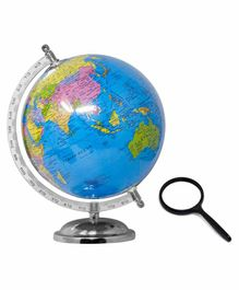 Fiddlerz Educational 8 Inches World Globe with 75mm Magnifying Glass - Blue
