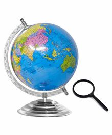Fiddlerz Educational 12 Inches World Globe with 75mm Magnifying Glass - Blue
