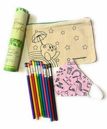 The Green Chapter Plantable Seed Pencils & Activity Pouch With Anti Pollution Mask Set - Multicolour
