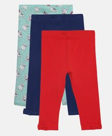 LOOCUST Pack Of 3 Solid & Doggie Print Leggings - Green Blue Red