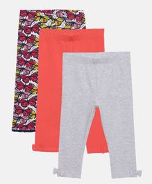 LOOCUST Pack Of 3 Butterfly Print & Solid Leggings - Red Grey