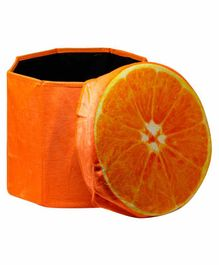 Fiddlerz Round Foldable Storage Box Cum Sitting Stool With Lid - Orange