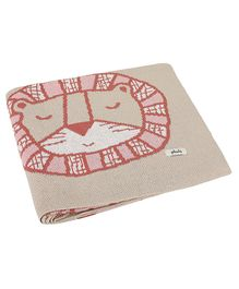 Pluchi Cotton Knitted All Seasons Blanket Lion Print  - Pink Cream