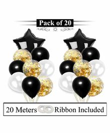 Amfin Foil And Confetti Balloons With Ribbon Black - Pack Of 20