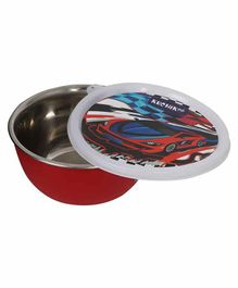 KuchiKoo Stainless Steel Feeding Bowl with Lid - Red