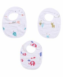Polka Tots 100% Organic Muslin Cotton Animal Design Bibs Pack of 3 - White