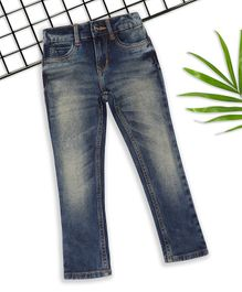Sodacan Green Tint With Scrapping Spray Shaded Full Length Jeans  - Blue