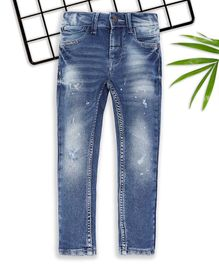 Sodacan Shaded Distressed Full Length Denim Jeans - Blue
