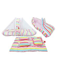 VParents Mite Baby 4 Pieces Bedding Set With Pillow and Bolsters Sleeping Bag and Beddding Set Combo - Stripes