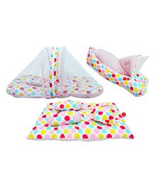 VParents Mite Baby 4 Pieces Bedding Set With Pillow and Bolsters Sleeping Bag and Beddding Set Combo - Polka Dots
