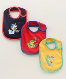 Cucumber Baby Bibs Animal Print Pack of 3 - Blue Red Yellow