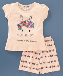 Nottie Planet Short Sleeves Bunny Printed Night Suit - Peach