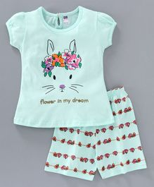 Nottie Planet Short Sleeves Bunny Printed Night Suit - Light Blue