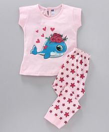 Nottie Planet Full Sleeves Dolphin & Stars Printed Night Suit - Light Pink