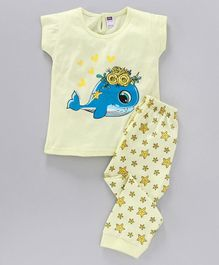Nottie Planet Full Sleeves Dolphin & Stars Printed Night Suit - Yellow