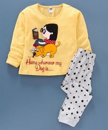 Nottie Planet Full Sleeves Dog Print Night Suit  - Yellow