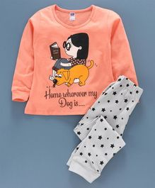 Nottie Planet Full Sleeves Dog Print Night Suit  - Coral