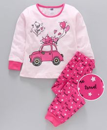 Nottie Planet Full Sleeves Car With Balloon Print Night Suit  - Pink